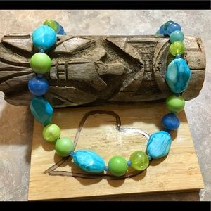 Beautiful Blue & Green Beaded Necklace